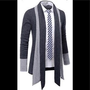 NEARKIN Men's Charcoal Gray Open Cardigan Shawl